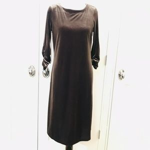 Susan Graver Shift Dress Brown Velvet